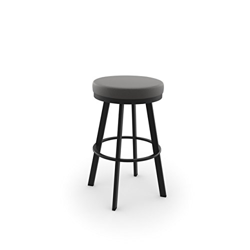 (Amisco Industries 42444-30WE/1B25HFF4 Swice Swivel Metal Barstool, Textured Black/Light Cold Grey Polyester)