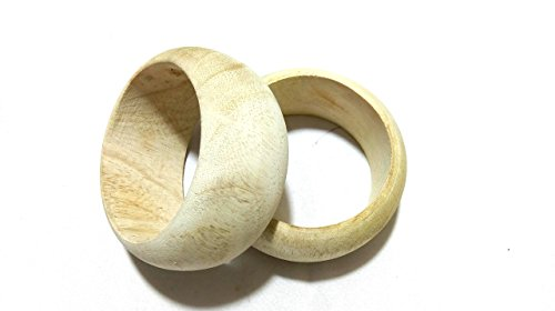 GOELX Wooden Bangle Bases Kada For Wrapping- Silk Thread Jewellery Making. Bangle Width - 3.8 Cm Size 2.6 Medium -