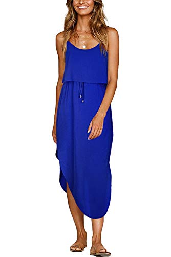 Aifer Womens Summer Casual Adjustable Spaghetti Straps Sleeveless Sundress Split Beach Midi Dress (Royal Blue, Medium)