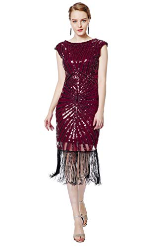 Metme Women's 1920s Classic Beaded Cocktail Party Dress Fringe Embellished for Cocktail Gatsby Party (XL, Wine) -