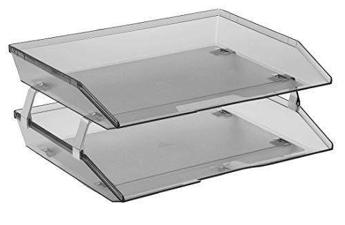 (Acrimet Facility 2 Tier Letter Tray Plastic Desktop File Organizer (Smoke Color))
