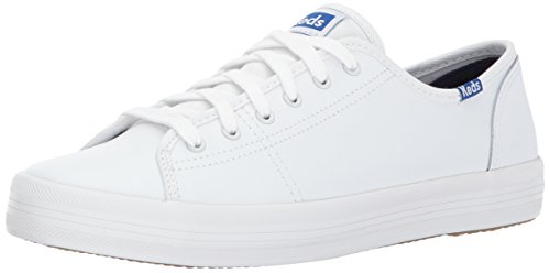 Keds Women's Kickstart Leather Fashion Sneaker,White/Blue,8.5 M US ()