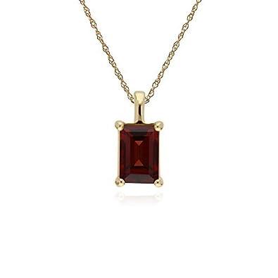 1d0b15312 Gemondo Garnet Necklace, 9ct Yellow Gold Garnet Single Stone Baguette 45cm  Necklace: Amazon.co.uk: Jewellery