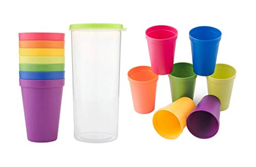 LESCA TEK Unbreakable Reusable Plastic Cups, Rainbow Travel Beverage Tumblers, Juice Drinkware, Set of 8