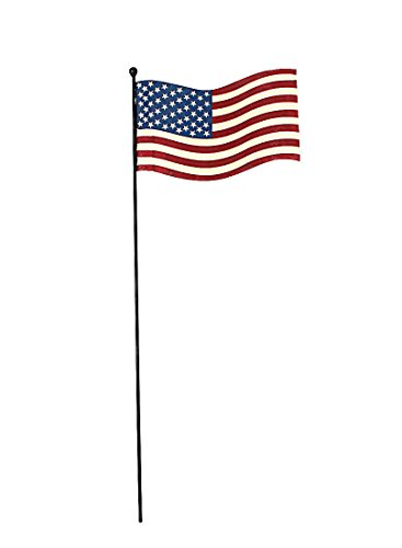 July 4th Metal Rustic Flagpole Pick with American Flag-Flying Flag Garden Stake (24'' Tall) by Home Accent