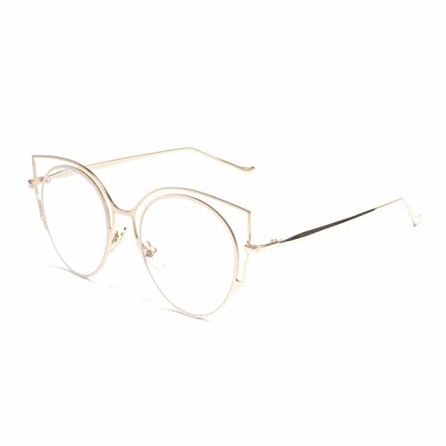 87afe7a33121 MINCL/Womens Fashion Round Metal Cut-Out Clear Lens Cat Eye Sunglasses new