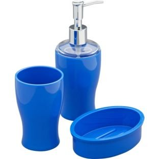 colourmatch bathroom accessories set marina blue set includes lotion dispenser soap dish and