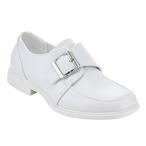 JELLY BEANS FH39 Boy's Monk Strap Stitched Formal Dress Loafer Shoes, Color:WHITE, Size:13 M US Little Kid