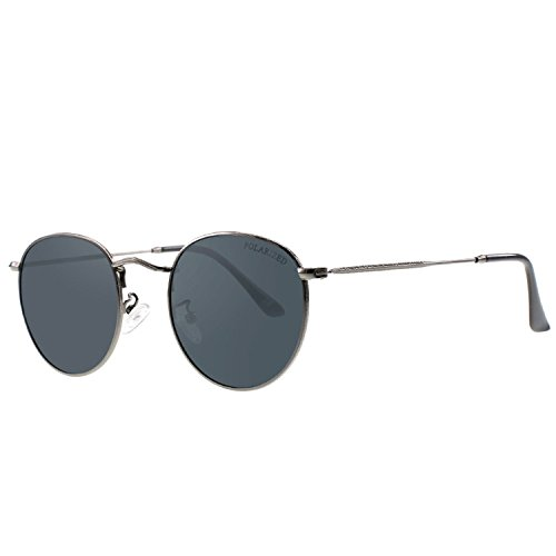 Puissant Fashion Men Vintage Metal Frame Lens Mirror Color Film Sunglasses,Gray film