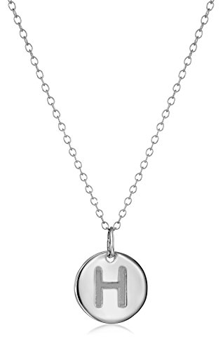 "Sterling Silver Round Disc Initial""H"" Pendant Necklace, 18.64"""