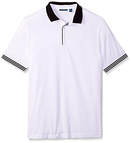 Perry Ellis Men's Big & Tall Icon Polo Shirt, Bright White, 2X Large