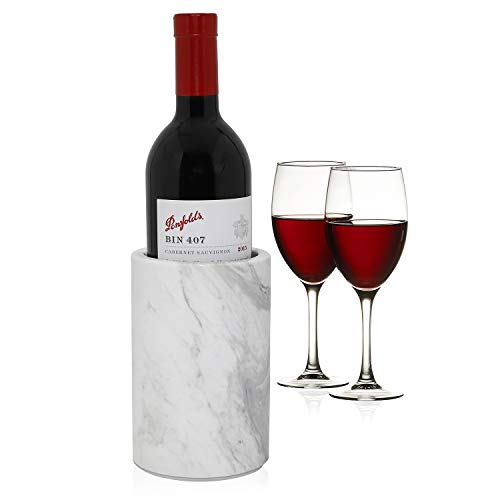 - ChasBete Natural Marble Wine Chiller Bottle Holder for Wine Cooler to Keep Champagne Cold Also Use as Kitchen Utensil Holder/Decorative Vase