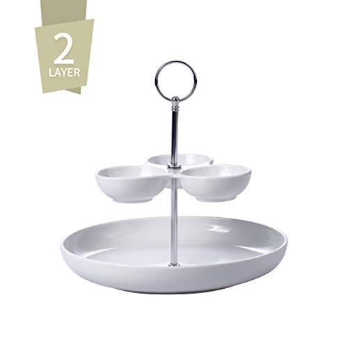 Singkasa 2-Layer Modern Serving Bowl Set, Sauce Dish, Fruit, Salad, Snacks Bowl, 10x9.5 inch, White, Porcelain