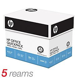 HP Quickpack Copy/Laser/Inkjet Paper, 92 Brightness, 20lb, Letter, 2,500 Sheets