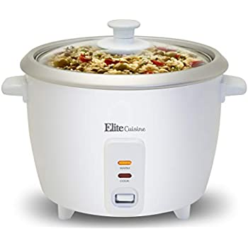 Elite Cuisine ERC-003 Electric Rice Cooker with Automatic Keep Warm Makes Soups, Stews, Grains, Hot Cereals, 6 Cooked (3 Cups Uncooked), 6 Cups Cups), White