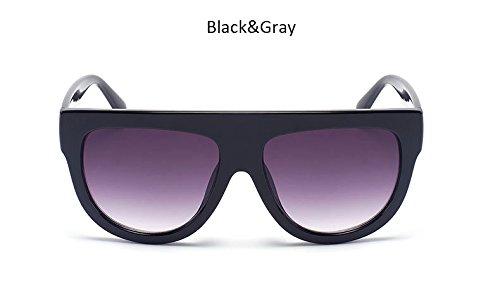 ZHANGYUSEN Gafas Flat de hembra Womenr Negro UV400 Señoras gris Bastidor tonos Vintage sobredimensionado de sol Top Gafas Blueredgray Moda grande remache sol de fFfxr4q