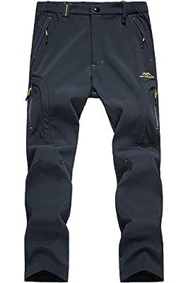 MAGCOMSEN Men's Winter Fleece Lined Windproof Softshell Hiking Mountain Ski Pants with 5 Zip Pockets