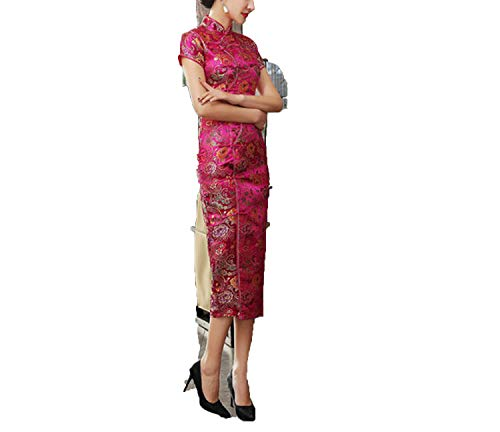 Chinese Classic Tight Qipao Short Sleeve Novelty Dress,Hot Pink,XXXL -