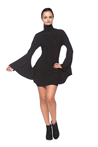 Women's Black Mock Turtleneck Batwing Sleeve Mod 1960s Retro Vintage Style Dress (Vintage Mod Dresses)