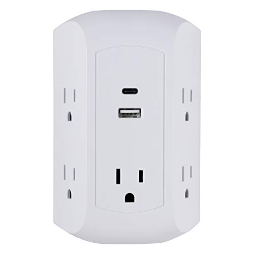 GE Ultra Pro 5 Outlet USB-C Outlet Adapter, Power Strip, Surge Protector, 1 Standard USB Port, 1 USB-C Port, Charging Station, Adapter Spaced Outlets, Wall Tap, Total 17W Charging Power, White, 43650