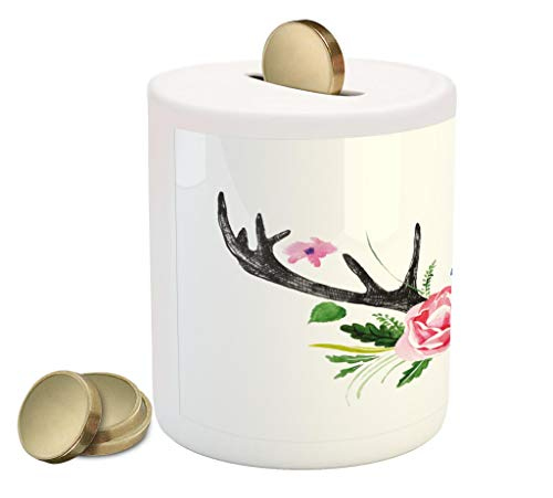 Lunarable Antler Piggy Bank, Black Deer Horns with Pink Roses Floral Wreath Design in Watercolors Wildlife Art, Printed Ceramic Coin Bank Money Box for Cash Saving, Multicolor ()