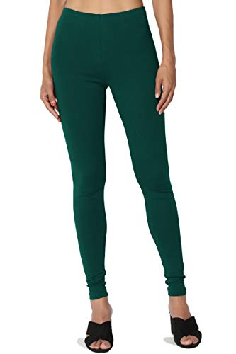 TheMogan Women's Cotton Jersey High Waist Full Length Ankle Leggings Hunter Green M ()