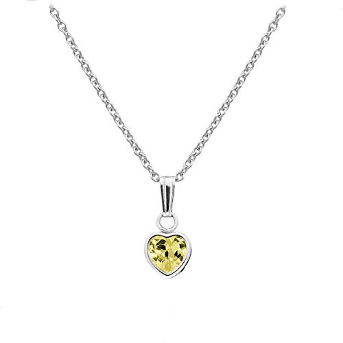Little Girl's Sterling Silver Simulated November Birthstone Heart Pendant Necklace (13 in) (Child Birthstone Jewelry)