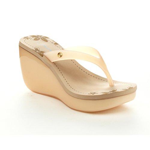 FOREVER STUDIO-2 Women's Wedge Heel Slide Flip Flop Thong Jelly Sandals,NUDE,7