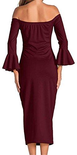 Cruiize Épaule Hors Sexy Manches Longues Moulante Club Robe Longue De Vin Rouge Des Femmes