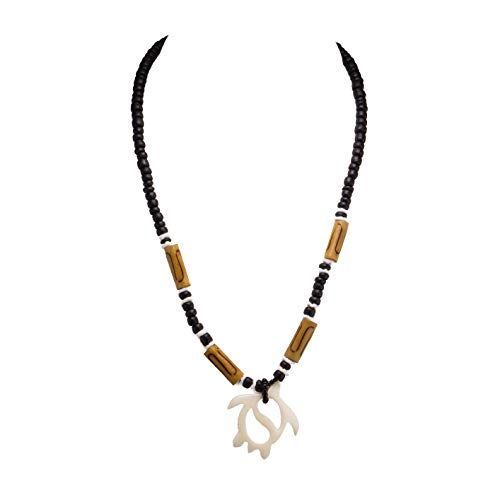 Carved Bone Sea Turtle Pendant on Coco Wood Necklace (Black) ()