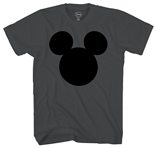 Disney Mickey Mouse Head Silhouette Men's Adult Graphic Tee T-Shirt (Charcoal, XX-Large)