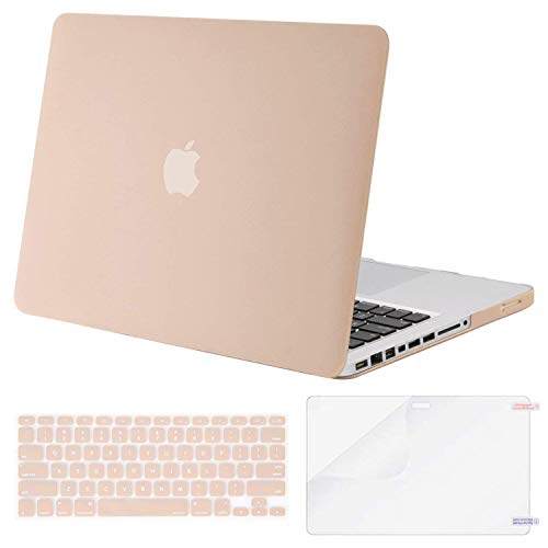 MOSISO Plastic Hard Shell Case & Keyboard Cover & Screen Protector Only Compatible with Old Version MacBook Pro 13 Inch (A1278, with CD-ROM), Release Early 2012/2011/2010/2009/2008, Camel