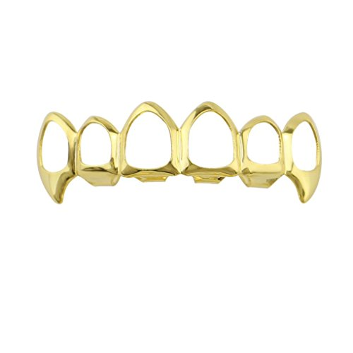 Set Fang Grillz (Weite 1pc Six Hollow Hip Hop Brace, 14k Gold Plated Cool Hip Hop Bling Bling Teeth Fangs Grillz Caps Top and Bottom Grill Rapper Zircon Set by (A))