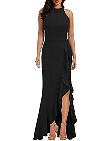 d6ceadafe WOOSEA Women's High Neck Split Bodycon Mermaid Evening Cocktail Long Dress