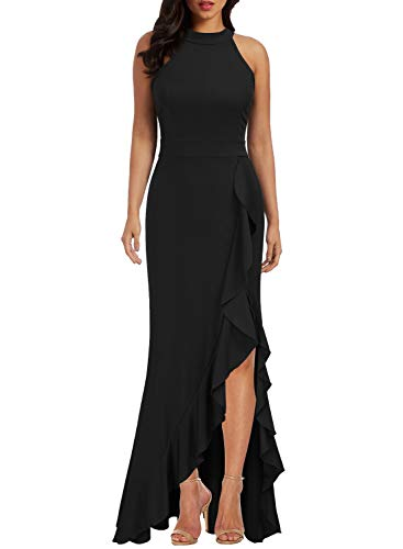 - WOOSEA Women's High Neck Split Bodycon Mermaid Evening Cocktail Long Dress Black