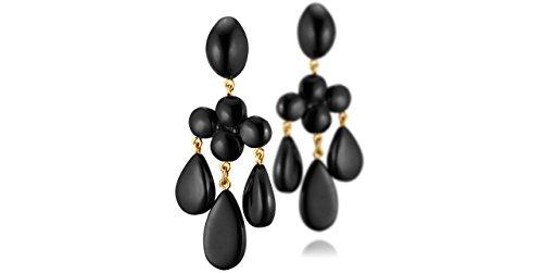 Dominique Denaive Boucles d'oreilles clips pendantes Yoana en résine, noir ciré