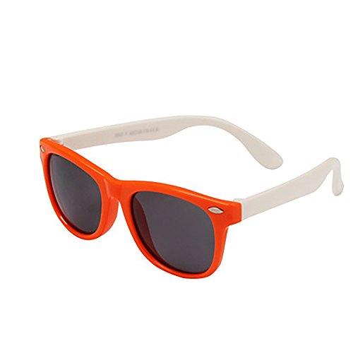 Kaimao Rubber Flexible Kids Polarized Sunglasses for Boys and Girls Age 3 - 10(Orange and White) Golfing Around Sports Bag