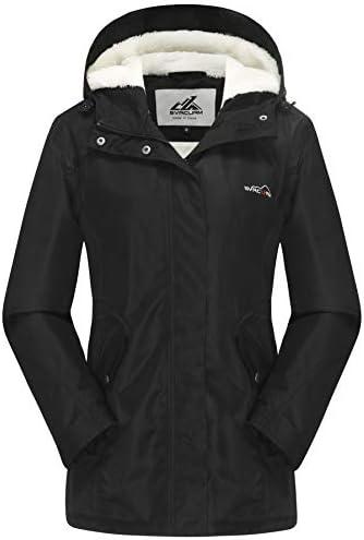 svacuam Women's Waterproof Windproof Snow Ski Hooded Jacket Winter Fleece Parka Rain Coats for Hiking