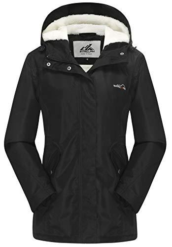 svacuam Women's Mountain Ski Jacket Windproof Fleece Snow Coat Rainwear Waterproof Hooded Warm Parka