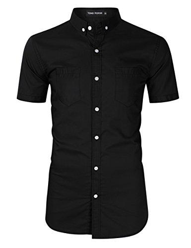 Yong Horse Men's Cotton Classic Fit 2 Pockets Short Sleeve Button Down Dress Shirts (Black Short Sleeve, (2 Pocket Shirt)