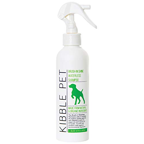 Kibble Pet Salon Quality Brush-in Shine Waterless Dog Shampoo Aloe Vera & Honey | Hypoallergenic | Made with Natural and Organic Ingredients | Made in The USA | 7.1oz
