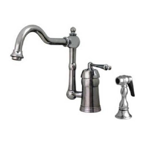 Whitehaus Collection Single Handle Faucets - Whitehaus 3-3190-POCH Single-Handle Side Sprayer Kitchen Faucet in Polished Chrome