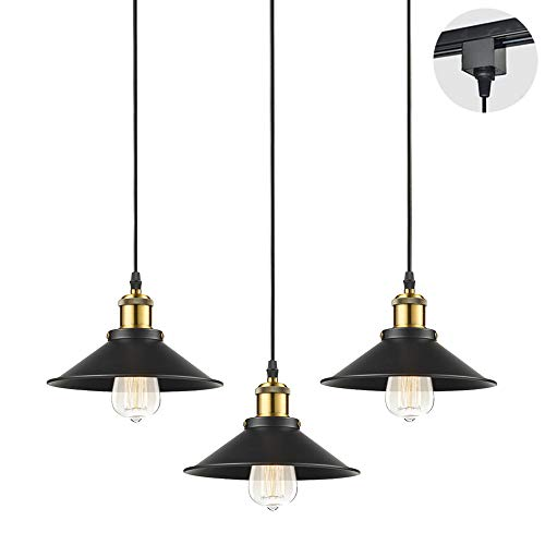 STGLIGHTING 3-Pack H-Type Track Light Pendants 4.9 Feet Cord Restaurant Chandelier Decorative Instant Pendant Light Industrial Factory Pendant Lamp Bulb Not Included