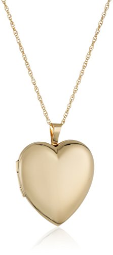 14k Hidden Gold Clasp (14k Gold-Filled Large Polished Heart Locket Necklace, 18