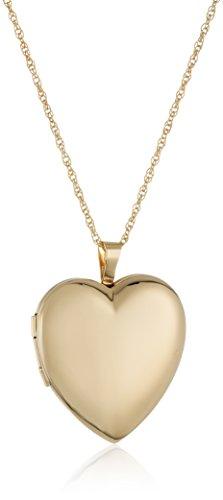 Gold Clasp 14k Hidden (14k Gold-Filled Large Polished Heart Locket Necklace, 18
