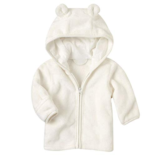 - Noubeau Infant Baby Boys Girls Fleece Ears Hat with Lined Hooded Zipper Up Jacket Coat Tops Outwear Overcoat Warm Fall Winte (White, 18-24 Months)