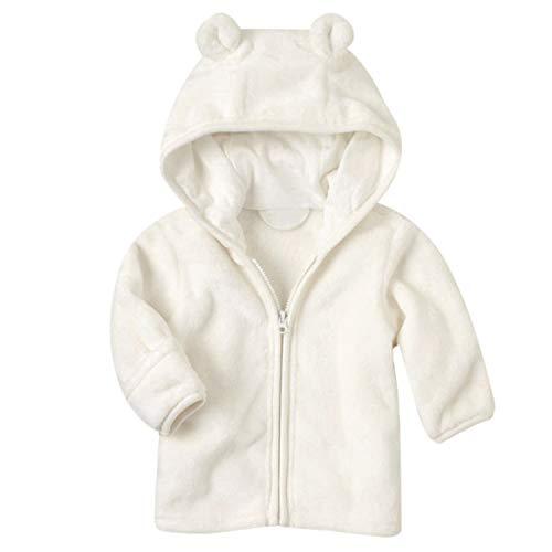 Noubeau Infant Baby Boys Girls Fleece Ears Hat with Lined Hooded Zipper Up Jacket Coat Tops Outwear Overcoat Warm Fall Winte (White, 0-6 Months)