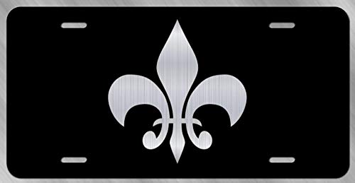 JMM Industries Fleur De Lis Vanity Novelty License Plate Tag Metal Car Truck 6-Inches by 12-Inches Etched Metal UV Resistant ELP106 -
