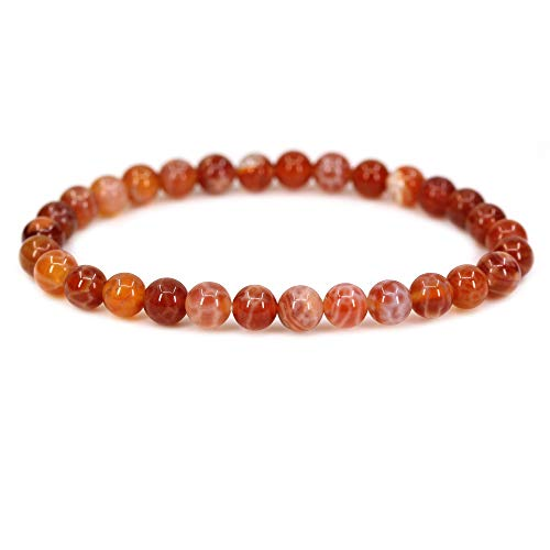 (Natural Red Crab Fire Agate Gemstone 6mm Round Beads Stretch Bracelet 7