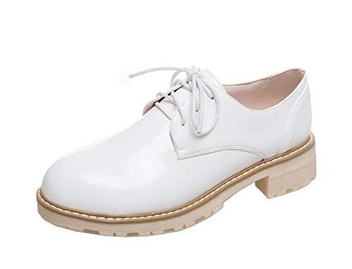Basso Allacciare Maiale Tacco Flats FBUIDD006852 Bianco Pelle di AllhqFashion Puro Donna Ballet wT0qFtx0X